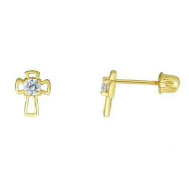 14k Yellow Polished  Childrens Butterfly Earrings w/ Screw Off Backs