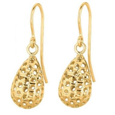 14k Yellow Gold Diamond Cut Meshed Tear Drop Fashion Earring
