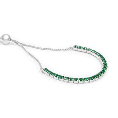 Sterling Silver Emerald Green Bolo
