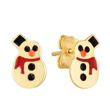 Holiday Treasures 14k Frosty the Snowman Earrings