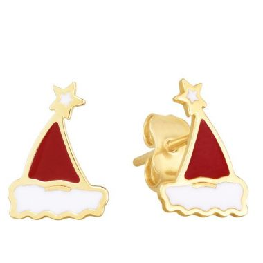 Holiday Treasures 14k Yellow Gold Santa Hat Earrings