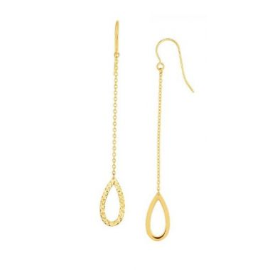 14K Gold Diamond Cut Open Oval Drop Earring