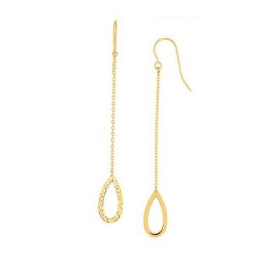 14K Gold Diamond Cut Open Oval Drop Earring