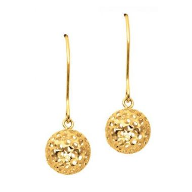 14K Gold Small Open Round Drop Earring