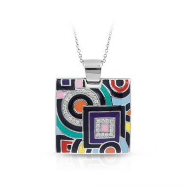 Belle Etoile Geometrica Collection Sterling Silver Multi Enamel Pendant