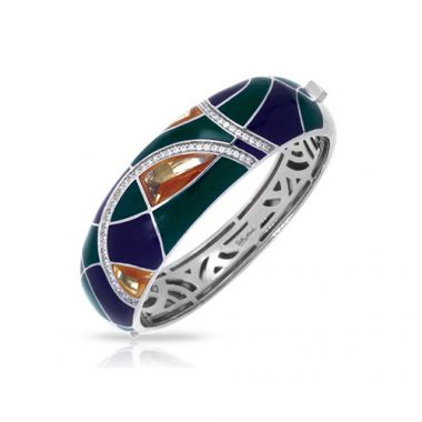 Belle Etoile Tango Collection Sterling Silver Emerald Black and White Enamel Bangle