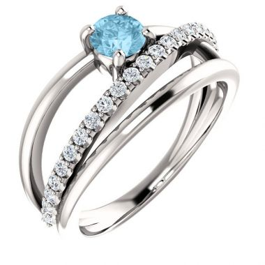 Sieger's Jewelers 14k White Gold Aquamarine Diamond Ring