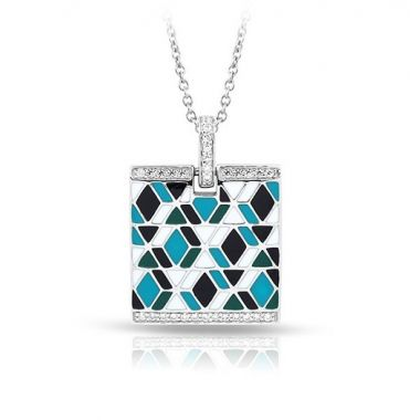 Belle Etoile Forma Collection Sterling Silver Blue Enamel Pendant
