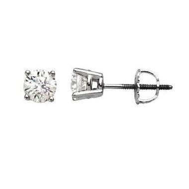 14k White G-H I1 Diamond Stud Earrings