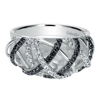 14k White Gold .26cttw Black & White Diamond Ring