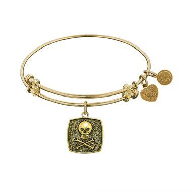 Angelica Adjustable Yellow Brass Skull and Bones Bangle