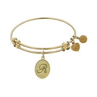 Angelica Adjustable Yellow Brass Scripted Letter R Bangle