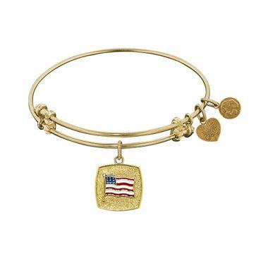 Angelica Adjustable Yellow Brass American Flag Bangle