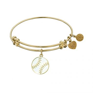 Angelica Adjustable Yellow Brass Baseball Bangle