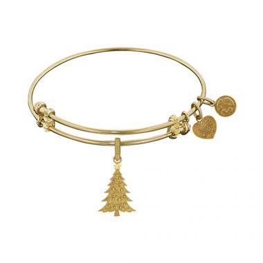 Angelica Adjustable Yellow Brass Christmas Tree Bangle