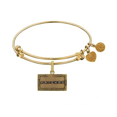 Brass with Yellow Finish Friends Logo Design Angelica Bangle