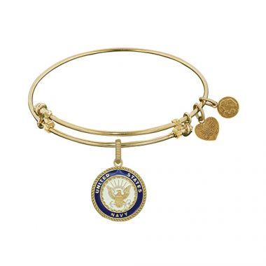 Angelica Adjustable Yellow Brass U.S. Navy Angelica Enamel Bangle