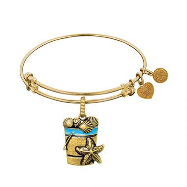 Brass with Yellow Beach Bucket with Sea Shells For Angelica Bangle