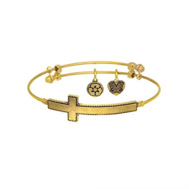 Brass with White Sideways Cross Angelica Bangle