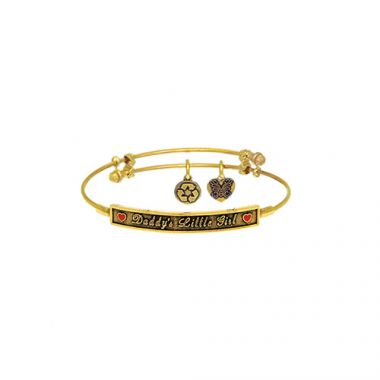 Brass with Yellow Daddy's little Girl Side ways Charm For Angelica Bangle