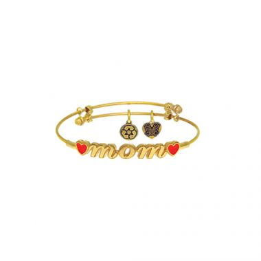 Brass with Yellow Mom Sideways Charm For Angelica Bangle