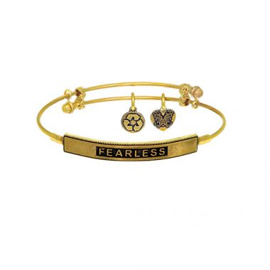 Brass with Yellow Fearless Sideway  Charm for Angelica Bangle