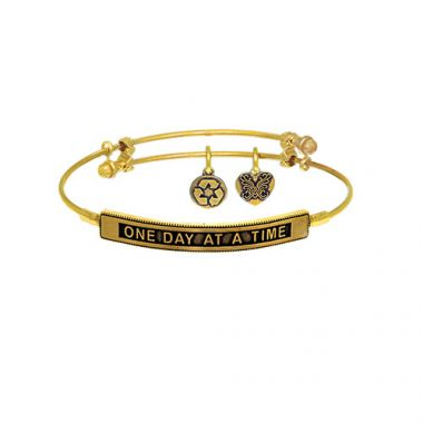 Brass with Yellow One Day at a Time Sideway Charm Angelica Bangle