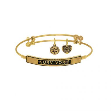 Brass with Yellow Survivor Sideway Charm Angelica Bangle