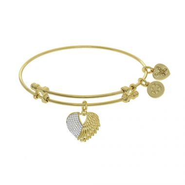 Angelica Adjustable Two tone Brass Heart Charm Bangle