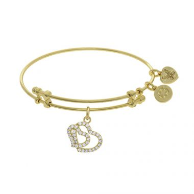Angelica Adjustable Two tone Brass Bangle Double Heart Charm