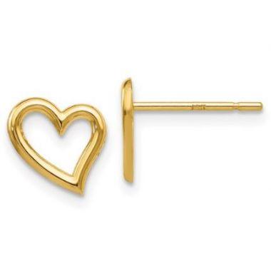 14k Yellow Open Heart Earrings