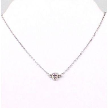 14k White Gold Solitaire Diamond Pendant