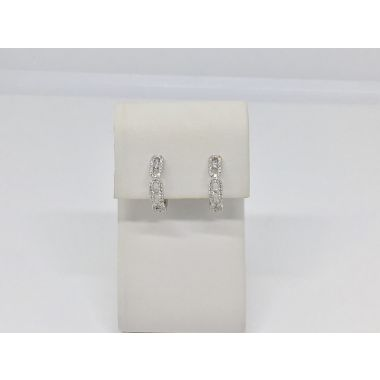 14k White 1/3 Carat Diamond Hoop Fashion Earrings