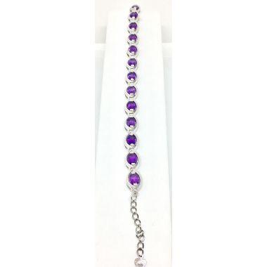 925 Sterling Silver 11.05 Carat Amethyst Bracelet