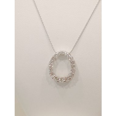 1CTTW Diamond Pendant & 14k White Gold Necklace