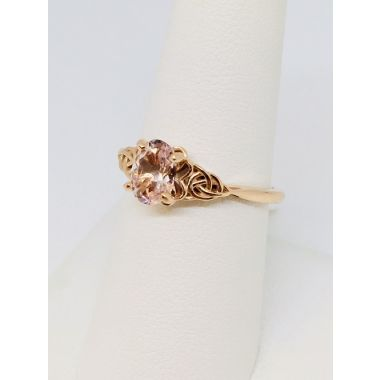 14k Rose Gold Celtic 8x6 AA Morganite Fashion Ring