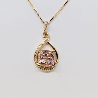 14k Rose Gold Diamond Pedant & 4.16 Carat Cushion AA Morganite