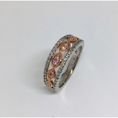 14k Two-Tone White/Rose Gold Diamond Fashion Ring