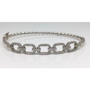 """Brand New"" 14k White Diamond Cuff"