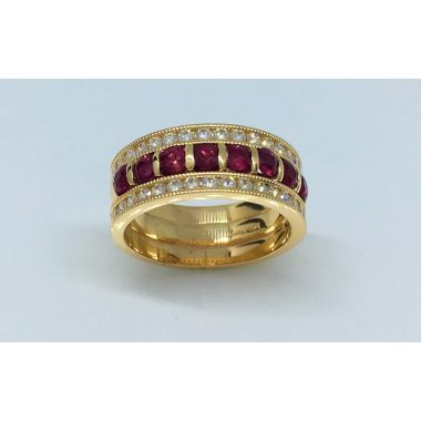 14k Yellow Gold 1 5/8 Carat Ruby & Diamond Ring