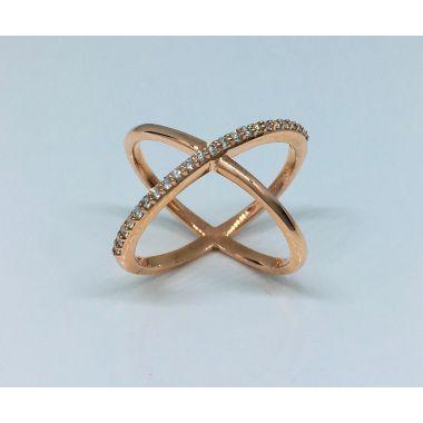 14k Rose Gold Cross Diamond Fashion Ring (.11ctw)