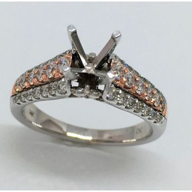 14k Two Tone Rose/White Gold .74 Carat Diamond Engagement Ring Semi-Mount