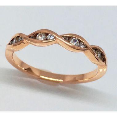 14k Rose Gold Twist Stackable 1/4 Carat