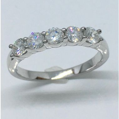 14k White Gold 5 Stone Diamond Ring (.75ctw)