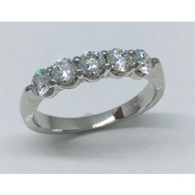 14k White Gold 3/4 Carat 5 Stone Diamond Wedding Band