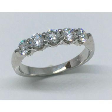 14k White Gold 1/2 Carat 5 Stone Diamond Wedding Band
