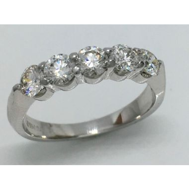 14k White 5 Stone Diamond Ring (1.00ctw)
