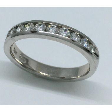 14k White Gold 1/2 Carat Channel Set Wedding Band