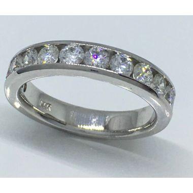 14k White Gold 1 Carat Diamond Channel Wedding Band