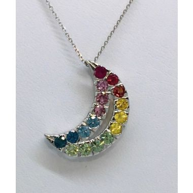 14k White Gold Multi-Color Sapphire Moon Pendant